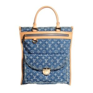 RARE Louis Vuitton Monogram Denim Sac Plat Handbag